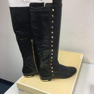 Size 9 - Michael Kors Gold studded flat boots